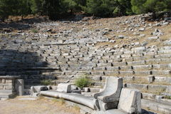 The ruins of the ancient amphitheater in the city of Priene Royalty Free Stock Image