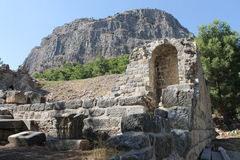 The ruins of the ancient amphitheater in the city of Priene Royalty Free Stock Photos