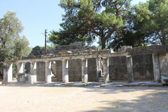 The ruins of the ancient amphitheater in the city of Priene Stock Images