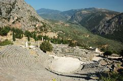 Ruins of ancient amphitheater in Delphi,Greece stock image