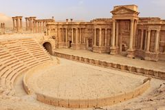 Ruins of the ancient amphitheater in Palmyra shortly before the war, 2011. Ruins of the ancient amphitheater in Palmyra on syrian desert shortly before the war Royalty Free Stock Image