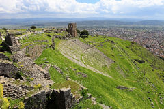 Ruins in ancient amphitheater of Pergamon Royalty Free Stock Photo