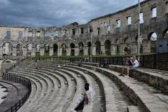 Coliseum.Pula.Croatia.Ruins of ancient amphitheater . The mighty walls of ancient architecture.the ruins of the amphitheater attracts many tourists stock image