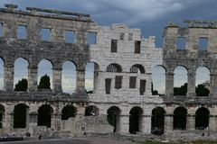 Coliseum.Pula.Croatia.Ruins of ancient amphitheater . The mighty walls of ancient architecture.the ruins of the  amphitheater attracts many tourists Stock Photography