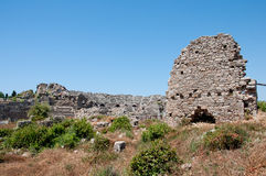 Ruins of ancient amphitheater in Side, Turkey Royalty Free Stock Photos