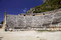 Ruins of the ancient amphitheater in Side, Turkey Royalty Free Stock Photography