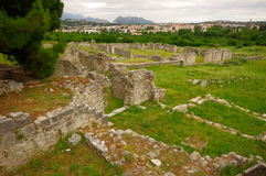 Ruins of the ancient amphitheater at Split, Croatia - archaeolog Royalty Free Stock Photos