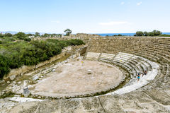 Ruins and ancient amphitheatre in the ancient city of Salamis in Royalty Free Stock Photography