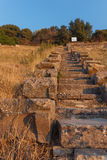 Ruins of ancient amphitheatre in Erytrai Royalty Free Stock Photo