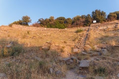 Ruins of ancient amphitheatre in Erytrai Stock Photography