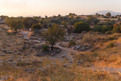 Ruins of ancient amphitheatre in Erytrai Ildiri Turkey Royalty Free Stock Images
