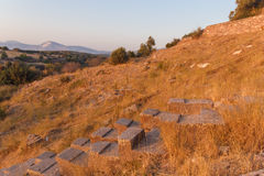 Ruins of ancient amphitheatre in Erytrai Ildiri Turkey Stock Photo