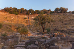 Ruins of ancient amphitheatre in Erytrai Ildiri Turkey Stock Photography