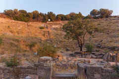 Ruins of ancient amphitheatre in Erytrai Ildiri Turkey Stock Images