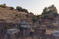 Ruins of ancient amphitheatre in Erytrai Ildiri Turkey Stock Photos