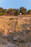 Ruins of ancient amphitheatre in Erytrai Turkey Stock Photo