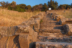 Ruins of ancient amphitheatre in Erytrai Turkey Stock Images