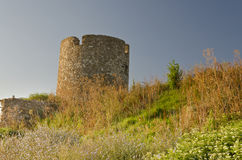 Ruins of the ancient ancient tower. At seaside Nessebar, Bulgaria stock photo