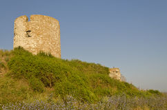 Ruins of the ancient ancient tower. At seaside Nessebar, Bulgaria royalty free stock photography