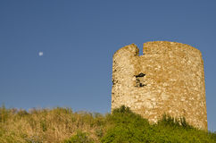 Ruins of the ancient ancient tower. At seaside Nessebar, Bulgaria royalty free stock images