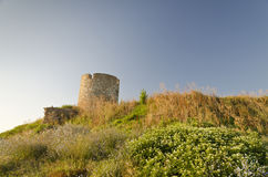 Ruins of the ancient ancient tower. At seaside Nessebar, Bulgaria royalty free stock image
