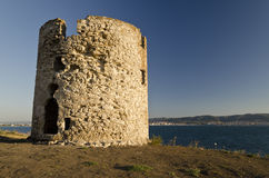 Ruins of the ancient ancient tower. At seaside Nessebar, Bulgaria royalty free stock photo