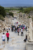 The ruins of the ancient antique city of Ephesus the library building of Celsus, the amphitheater temples and columns. Candidate f Stock Photo