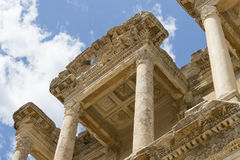 The ruins of the ancient antique city of Ephesus the library building of Celsus, the amphitheater temples and columns. Candidate f Stock Image