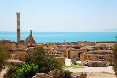 Ruins of ancient Antonine Baths in Carthage. Stock Photo