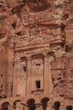 Ruins of the ancient Arabic city Petra, Jordan. Petra is a historical and archaeological city that is famous for its rock-cut architecture and water conduit Stock Image