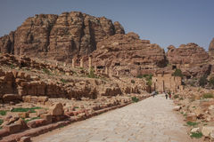 Ruins of the ancient Arabic city Petra, Jordan. Petra is a historical and archaeological city that is famous for its rock-cut architecture and water conduit Royalty Free Stock Images