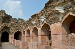 Ruins of Ancient Architecture Ship Palace Mandav stock photography