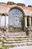 Ruins of an ancient Armenian church.  Main entrance. Stock Photography