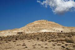 Ruins of ancient Avdat Ovdat town on top of the desert hill in Israel Royalty Free Stock Image