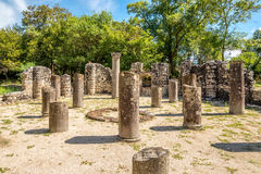 Ruins of ancient Baptistery in the Butrint. royalty free stock photo