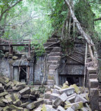 Ruins of ancient Beng Mealea Temple over jungle in Cambodia Stock Image