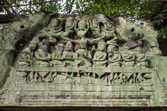 Ruins of ancient Beng Mealea Temple over jungle, Cambodia. stock photos