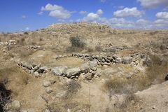 Ruins of Ancient Biblical city of Lachish, today Tel Lachish. Ruins, Wall of Castel and Fortress of Rehoboam in the Ancient Biblical city of Lachish, today Tel Stock Photo