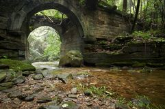 Ruins of an ancient bridge in the forest Stock Image