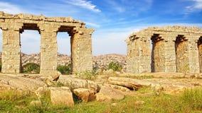 Ruins of ancient bridge. Hampi Royalty Free Stock Photos