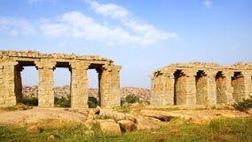 Ruins of ancient bridge. Hampi Royalty Free Stock Image