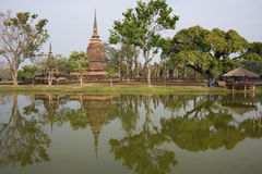 Ruins of an ancient Buddhist temple in Sukhothai historical Park. Thailand Stock Photos