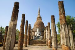 On the ruins of ancient Buddhist temple. Sukhothai, Thailand Stock Photography