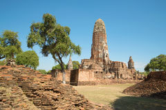 Ruins of the ancient Buddhist temple of Wat Phra Ram in the sunshine. View of the main Prang. Ayutthaya, Thailand. Ruins of the ancient Buddhist temple of Wat Stock Photos