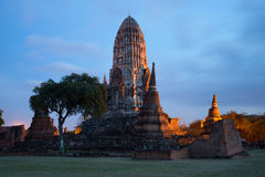 The ruins of the ancient Buddhist temple of Wat Ratchaburana in the evening twilight. Ayutthaya, Thailand Stock Image