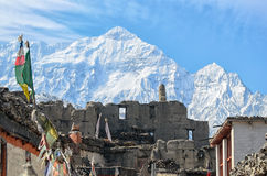 Ruins of Ancient Buddist Temple high in the mountains. In Himalays Stock Image