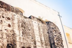 Ruins of ancient building in Catania, Sicily, Italy.  royalty free stock photos