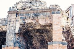Ruins of ancient building in Catania, Sicily, Italy.  royalty free stock photo
