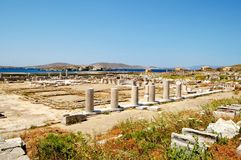 The ruins of ancient buildings, the island of Delos, Greece Royalty Free Stock Photo