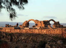 Ruins of ancient buildings at Paphos, Cyprus. stock image